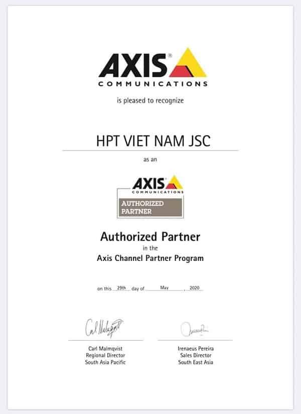 Giấy chứng nhận phân phối hãng Axis