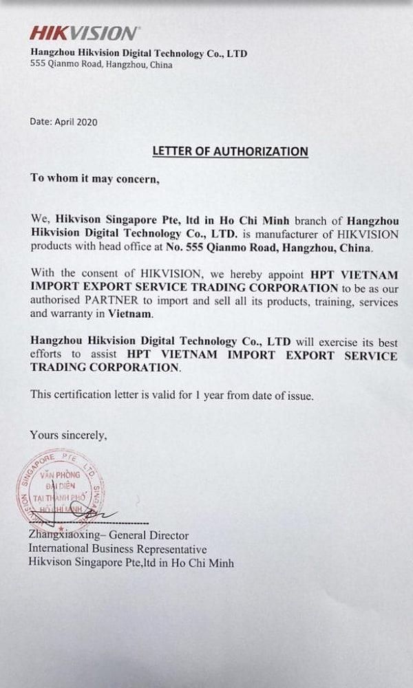 Giấy chứng nhận Hikvision