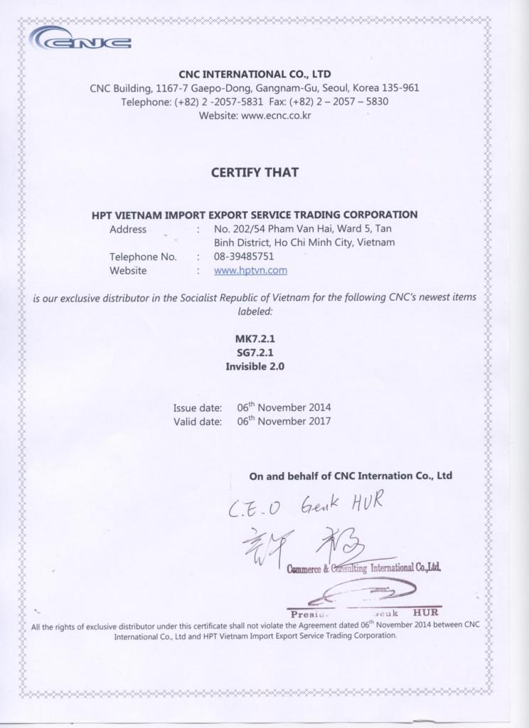 Certification 141219 HPT Vietnam