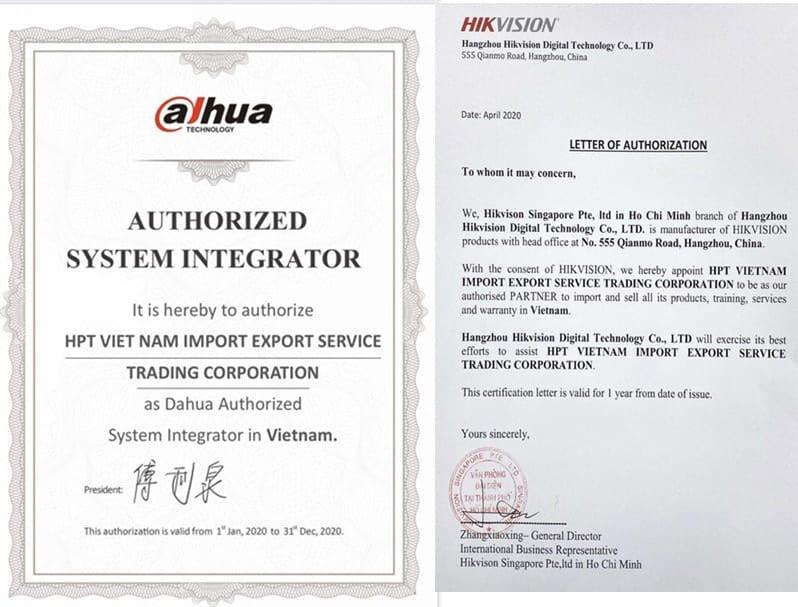 Giấy chứng nhận phân phối của Dahua và Hikvision