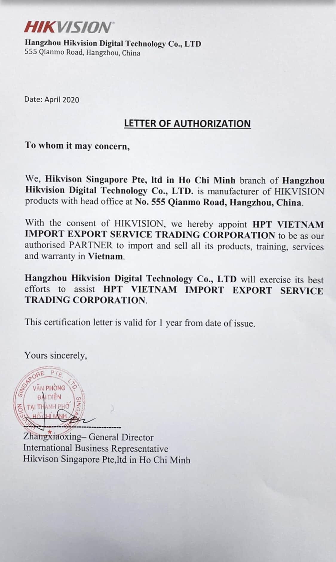Giấy chứng nhận nhà phân phối của Hikvision