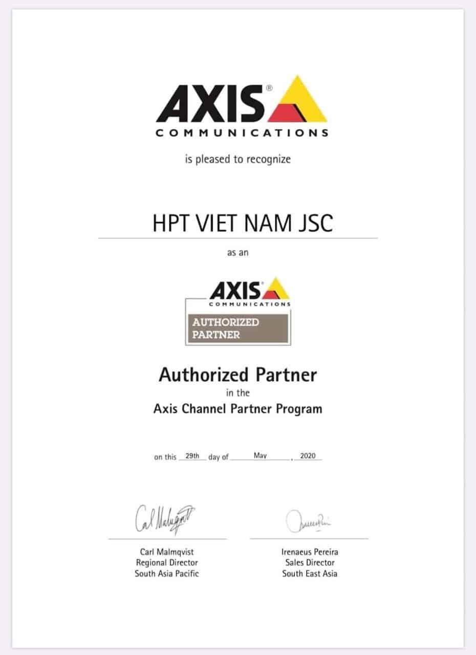 Giấy chứng nhận nhà phân phối của hãng Axis