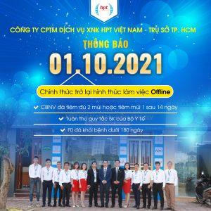 Thông báo chính thức trở lại hình thức làm việc offline từ 1/10/2021